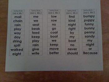 Unit 4 Spelling Words Treasures 1st grade