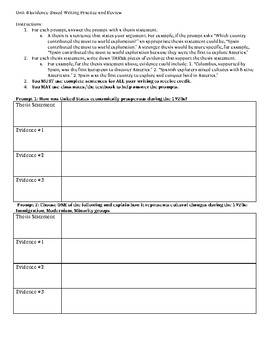Unit 4 (The Roaring 20s and Great Depression) Evidence-Based Writing