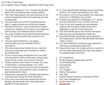 Unit 4 (The Roaring 20s and Great Depression) Key Terms with Quiz and Key