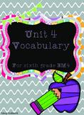 Unit 4 Vocabulary Cards for Everyday Math 4 Sixth Grade