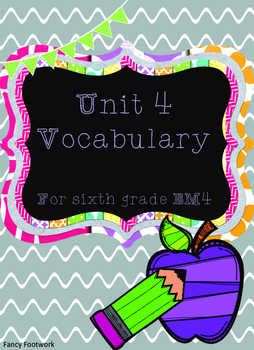 Unit 4 Vocabulary Cards for Everyday Math 4 Sixth Grade