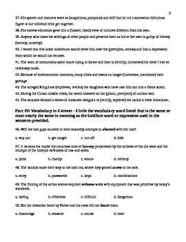 Unit 4 Vocabulary Test based on Sadlier Workbook Level D