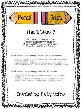 Reading Wonders Unit 4 Week 2 Pencil Pairs ***WITH 72 BONU