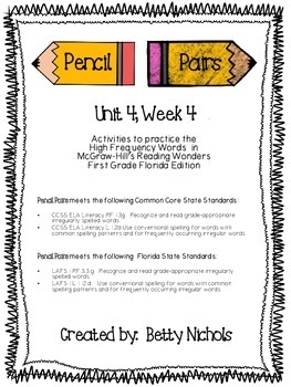 Reading Wonders Unit 4 Week 4 Pencil Pairs ***WITH 72 BONUS PAGES***