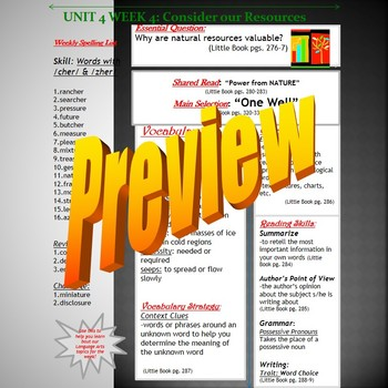 Unit 4 Week 4 Skills Guide for Fifth Grade based on McGraw Hill Wonders One Well