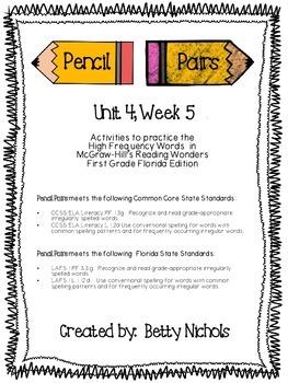 Reading Wonders Unit 4 Week 5 Pencil Pairs ***WITH 72 BONU