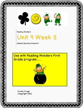 Unit 4 Week 5 Reading Wonders First Grade Adapted Spelling