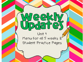 Unit 4 Weekly Updates & Spelling Practice Pages