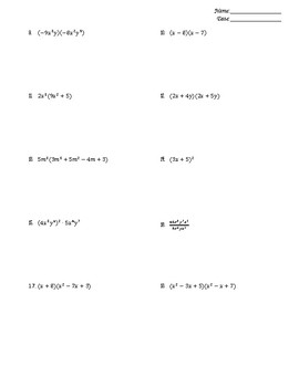 Unit 4 Worksheets (ALG 2) - Polynomial Functions