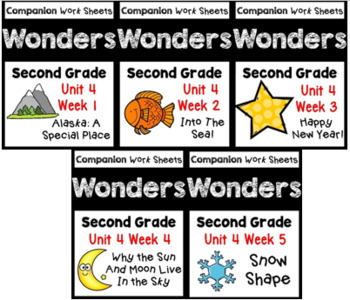 Unit 4 Worksheets/Centers BUNDLE Wonders Second Grade
