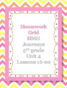 Unit 4 of HMH Journeys 5th grade Homework grid