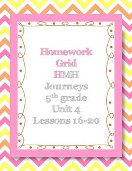 Unit 4 of HMH Journeys 5th grade Homework grid