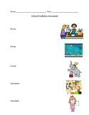 Unit 4A Readygen kindergarten vocabulary assessment