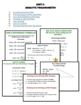 PreCalculus: Analytic Trigonometry SMART Board® Lessons Bundle