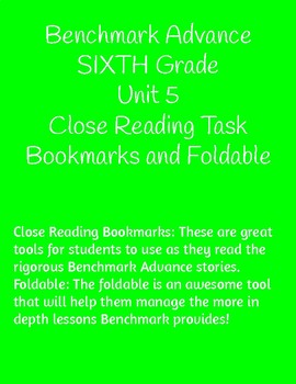 Unit 5- Benchmark Close Reading and Foldable