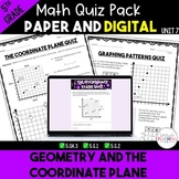 Geometry and the Coordinate Plane Quiz Bundle - Digital and Paper