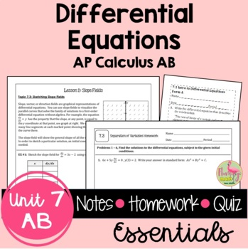 Calculus: Differential Equations Guided Notes and Homework Bundle