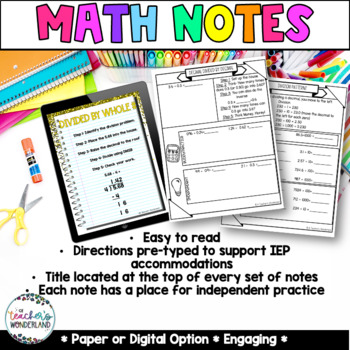 Unit 5-Dividing Decimals Guided Math Notes for Math Notebooks