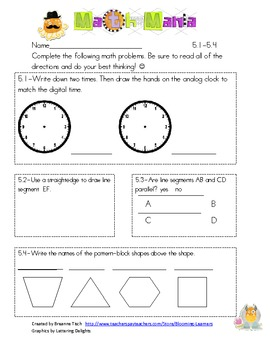 Unit 5 Everyday Math 2nd Grade Skill Star Assessment Common Core Aligned