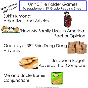 Unit 5 File Folder Games: 3rd Grade Reading Street (2007)