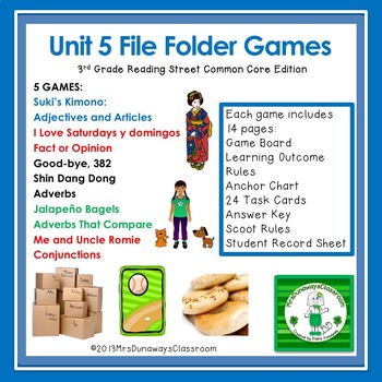 Unit 5 File Folder Games: 3rd Grade Reading Street (2011 common core)