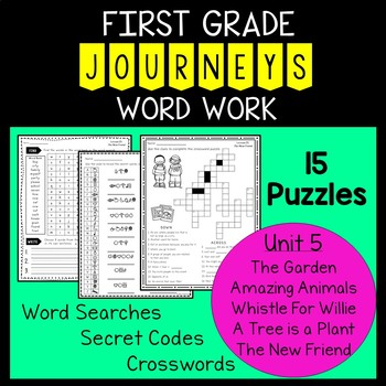 Unit 5 First Grade Journeys Word Work Puzzles