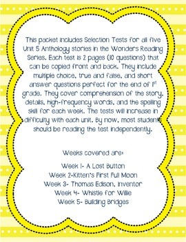 Unit 5 First Grade Selection Tests- McGraw Hill's Reading Wonders