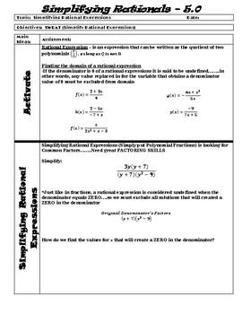 Unit 5 Guided Notes - Rational Functions ALG 2