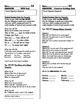 Unit 5 Guided Reading Homework WONDERS Grade 1