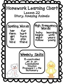 Unit 5 Homework Learning Charts Grade 1 Journeys