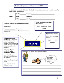 Vocabulary Unit 5: Ject Root Word Activities
