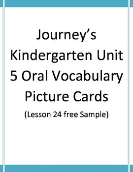 Unit 5 Journey's Oral Vocabulary Cards free sample lesson 24