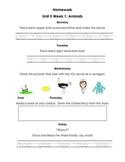 Unit 5 Kindergarten Treasures Reading Series Homework