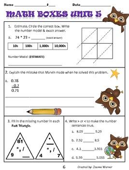 Unit 5 Math Boxes Review 4th Grade