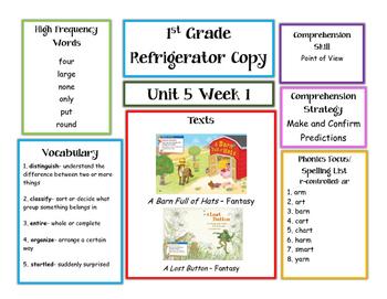 Unit 5 McGraw Hill Wonders 1st Grade Parent Letters