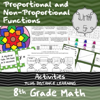 Unit 5 - Proportional and Non-Prop. Functions - Activities - 8th Grade Math TEKS