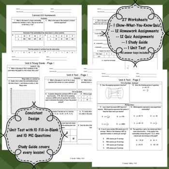 Unit 5 - Proportional and Non-Prop. Functions -Worksheets- 8th Grade Math TEKS