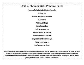 Unit 5 (Reading Street) Phonics Practice Word Cards