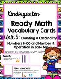 Unit 5 Ready Math Vocabulary Cards for Kindergarten