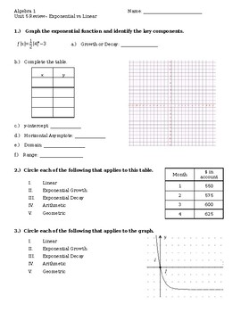 Unit 5 Review #2 - Arithmetic, Geometric Sequences, Linear vs Exponential
