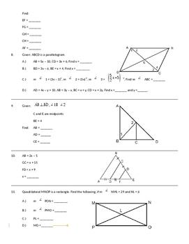 Unit 5 Review: Quadrilaterals