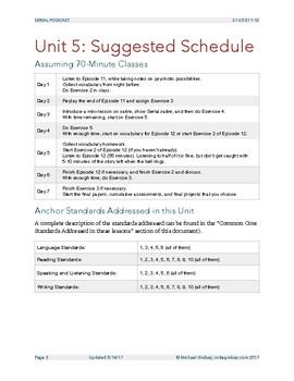 Unit 5: Serial Podcast Lesson Plans & Printable Worksheets, S.1, Episodes 11-12