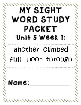 First Grade-Units 5 and 6 Sight Word Study Packets/McGraw-