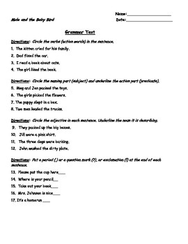 Unit 5 Spiral Grammar Tests - Scott Foresman 1st Grade