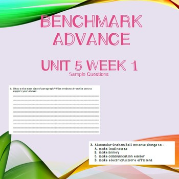 Third Grade Benchmark Advance Unit 5 Week 1 Comprehension Questions