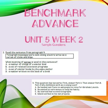 Third Grade Benchmark Advance Unit 5 Week 2 Comprehension Questions
