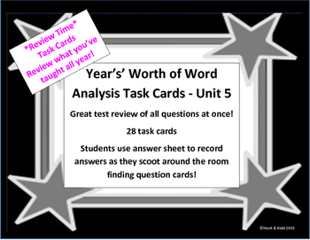 Unit 5 Task Cards - Year's Worth - Reading Review