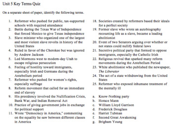 Unit 5 (The Jacksonian Era) Key Terms with Quiz and Key