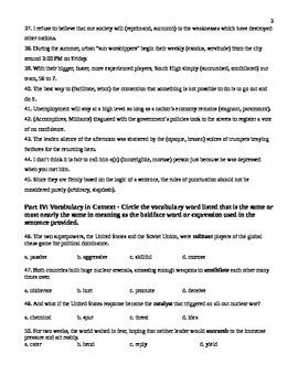 Unit 5 Vocabulary Test based on Sadlier Workbook Level D
