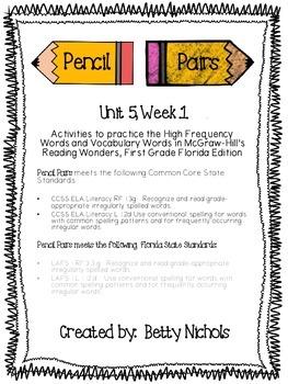 Reading Wonders Unit 5 Week 1 Pencil Pairs ***WITH 72 BONUS PAGES***